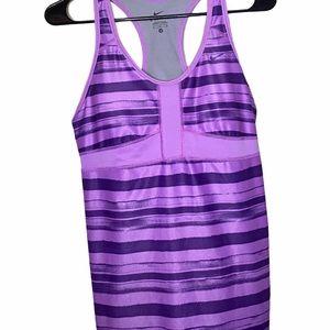 Nike Dri- Fit Racerback Purple Striped Tank Top M